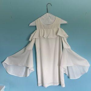Bardot Junior White Dress With Flare Sleeves